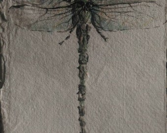 "Custom Dragonfly Painting: 5"" x 7"" watercolor and ink"