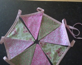 Shabby Chic Pink and Green Bunting