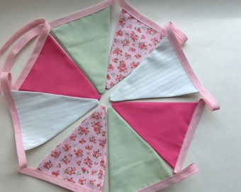 Pink and light Green bunting