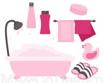 Pink Bathroom Clipart, Fun Pretty Clipart, Retro, shampoo Instant Download, Personal and Commercial Use Clipart, Digital Clip Art
