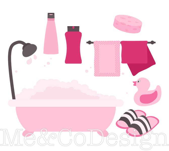 Pink Bathroom Clipart Fun Pretty Clipart Retro Shampoo