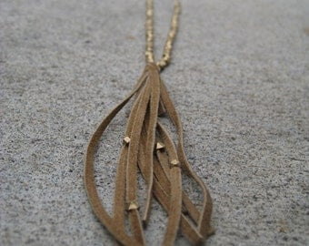 Cubed Brass and Suede Fringe Necklace