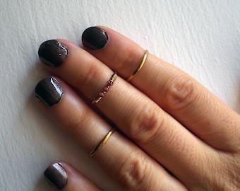 Adjustable midi rings // knuckle rings set // stackable rings // Brass rings set