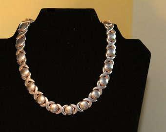 Italian X's & O's Contemporary Silver Necklace