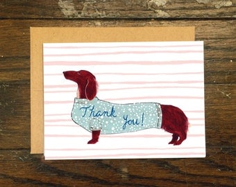 Wiener Dog Thank You Greeting Card