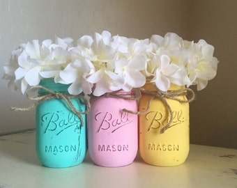 Mason Jar Home Decor Spring Easter Decorations Distressed Jars Baby
