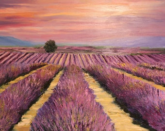 Oil Painting — Lavender Field in Provence  France  — PALETTE KNIFE Landscape Modern Fine Art Oil Painting On Canvas — Interior Oil Painting