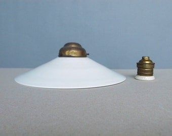 Vintage Industrial / Office Milk Glass Hanging Lampshade Early 20 Century with Metal / Porcelain Fixture