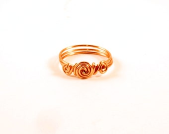 Natural Copper Wire Wrap Spiral Ring Size 6.5 Wire Wrapped Ring