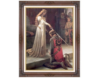 Framed Art Print The Accolade Edmund Blair Leighton Canvas Painting Reproduction  - Sizes Small to Large - M00774