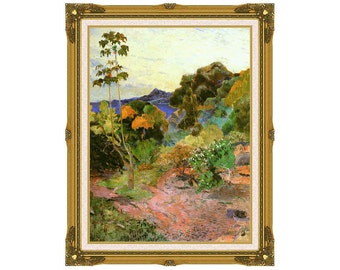 Framed Art Print Martinique Landscape Paul Gauguin Canvas French Caribbean Islands Painting Reproduction - Sizes Small to Large - M00166