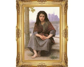 Large Framed Art The Bohemian William Bouguereau Canvas Print Young Girl Painting Reproduction Giclee Fine Wall Artwork - M00419