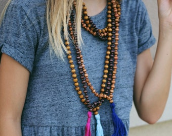 Long Wrap Wooden Necklace