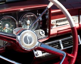 Red Studebaker, Studebaker Dashboard 50s Classic Car Garage Wall Print Vintage Car Photos Classic Car Photos Studebaker Art Print Men's Gift