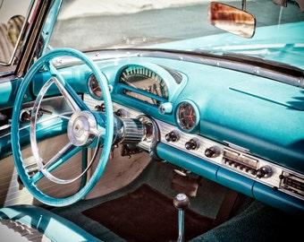 1950s Ford, Thunderbird, Classic Car Interior, 50s Car, Vintage Car Photo, Classic Ford Garage Decor Man Cave Art Masculine Art Gift For Him