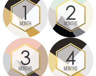 Modern Geometric Monthly Baby Milestone Stickers, Baby Girl, Monthly Bodysuit Stickers, Baby Shower Gift, Months 1-12