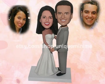 Bobblehead dolls wedding cake topper rustic country weddings,custom cake topper