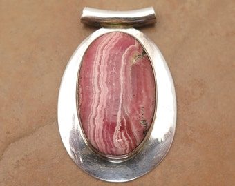925 Sterling Silver Rhodochrosite Cabochon Pendant