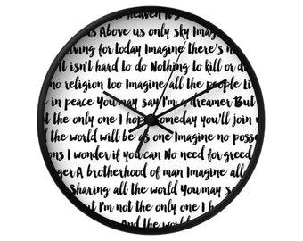 Imagine Song Wall Clock, 5 Colors Options, Decorative Wall Clock, Typographic, Home Decor, The Beatles, Imagine, John Lennon, Music Lyrics