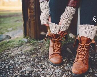CROCHET PATTERN:  Fingerless Gloves with Boot Cuffs, Winter Fashion Accessories
