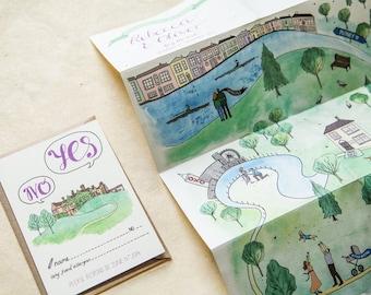Custom illustré grande carte Invitation - papeterie de mariage Unique