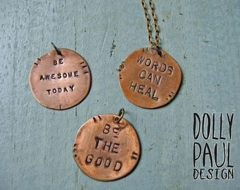 Custom Stamped Necklace, Custom Stamping, Hand Stamped, Boho, Rustic, Monogram, Hammer Stamped, Engraved, Initial, Copper Jewelry, Trending