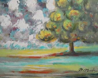 Vintage postimpressionist landscape tree oil painting