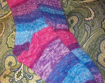 Striped Cotton Socks in blues, pinks, and purples