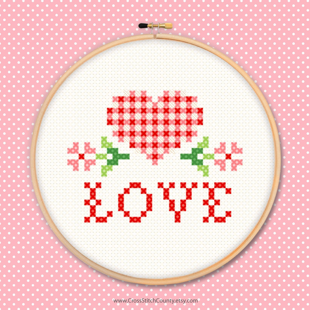 Love heart cross stitch embroidery gingham check flowers sew