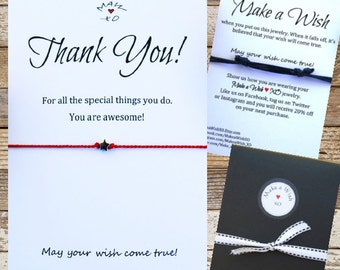 Thank You Wishing Bracelet Sterling Silver Star ~ Make a Wish Star Charm Silk Wishing Bracelet Friendship Gift / Thank you Gift for Friend