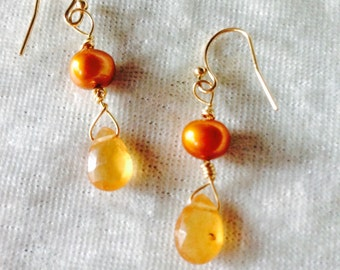 AMBER GARNET and PEARL  Earrings