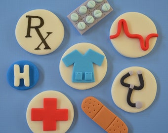 12 Medical Cupcake Toppers-Fondant