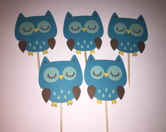12 Owl Cupcake Toppers, Baby Shower or Birthday Decorations