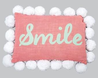 """Pink Pom Pom Pillow """"Smile"""" P001"""