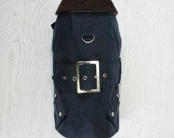 Classic Style Waxed Dog Jacket - Navy Blue
