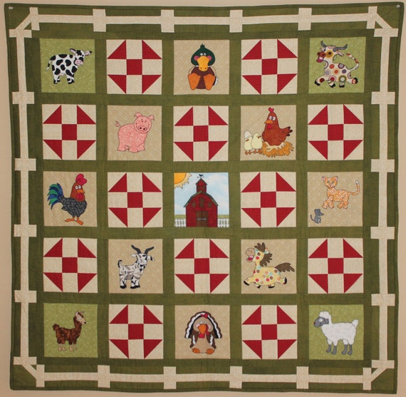 Farm animal applique PDF baby quilt pattern shoo fly block