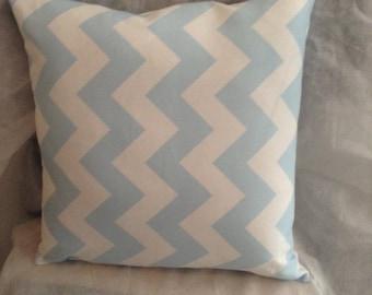 White and Light Blue Chevron Decorative Pillow Home Decor Chevron Pillow