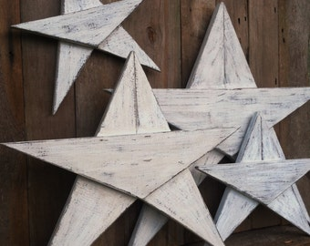 Wood Stars (Set of 3 or 4) Rustic Wood Stars Christmas decor Beach Decor