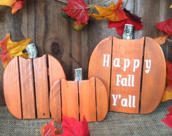 "Adorable!  4"", 6"" & 8"" Pallet Wood Pumpkins 3 Pc Set (With or Without Lettering) Fall Thanksgiving Halloween Autumn Decor Pumpkin Set"