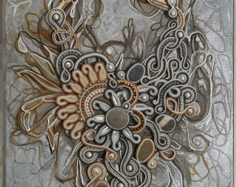 "Painting + Soutache necklace ""Due Soli"""