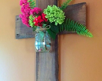 Ready to ship! Wooden cross- Mason jar wall sconce - vase - church decor - relcaimed barnwood