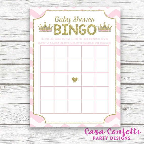 Pink And Gold Princess Baby Shower Bingo Game Printable Tiara Crown