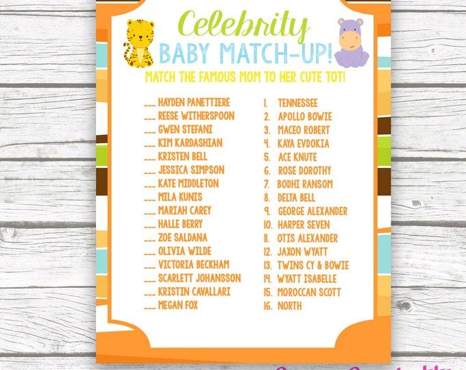 Safari Celebrity Baby Match Game, Safari Printable Celeb Baby Shower Game, Jungle Animal Printable Baby Shower Game, Baby Boy Shower