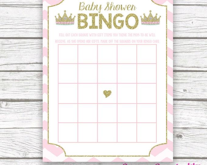 Pink and Gold Princess Baby Shower Bingo Game Printable, Tiara Crown Gold Glitter Princess, Printable Baby Shower Games, Baby Girl Shower