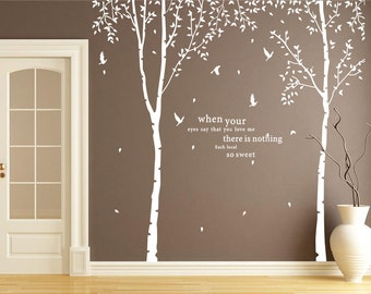 White tree wall decal-forest tree wall sticker nursery-birch tree decal with brids-tree of life wall decal quote-blowing tree decal wall art