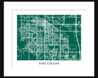 Fort Collins Map - Map of Fort Collins Colorado - Colorado State University - Print - Poster - Rams