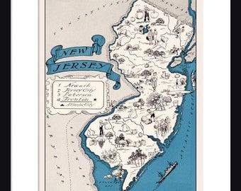 New Jersey Map - Map of New Jersey - State Map - Vintage Map - Poster - Print - Pictorial - Cartoon Map