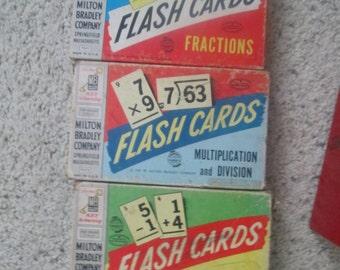 Reduced! Milton Bradley flashcards - Set of 3 - circa 1950's.