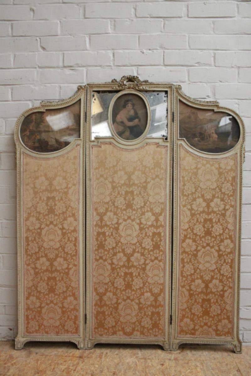 French Folding Screens : Antique vintage french folding screen room divider wood by
