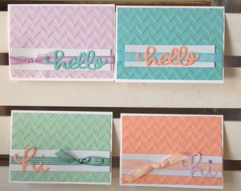 Hello Note Card Set - Greeting Card Set - Blank Cards - Handmade Cards